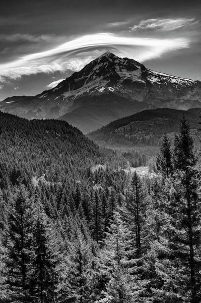 Wall Art - Photograph - Mt Hood With A Hat Monchrome by John Trax