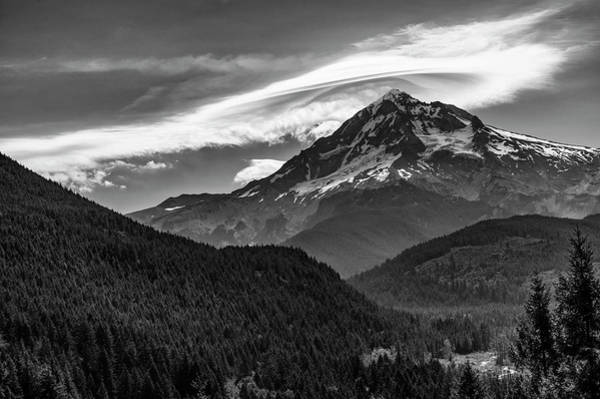 Wall Art - Photograph - Mt Hood With Lenticular Cloud Monochrome 2 by John Trax