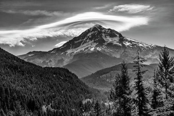 Wall Art - Photograph - Mt Hood With Lenticular Cloud Monochrome by John Trax