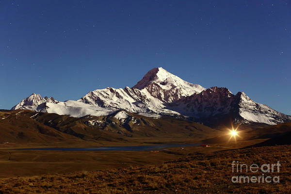 Photograph - Mt Huayna Potosi And The Altiplano By Moonlight Bolivia by James Brunker