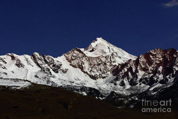 Photograph - Mt Huayna Potosi By Moonlight Bolivia by James Brunker