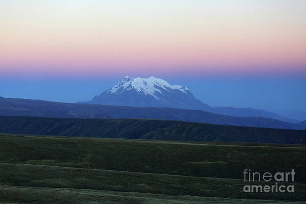 Photograph - Mt Illimani And Altiplano At Sunset Bolivia by James Brunker