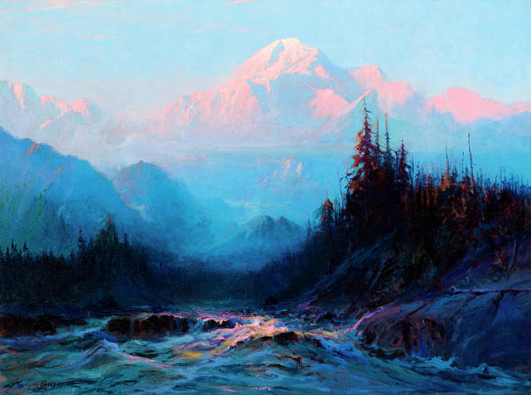 Wall Art - Painting - Mt. Mckinley Above The Tokosheetna by Sydney Mortimer Laurence