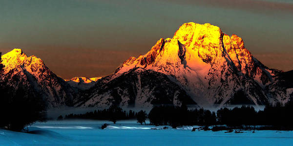 Photograph - Mt. Moran Winter Sunrise by Norman Hall