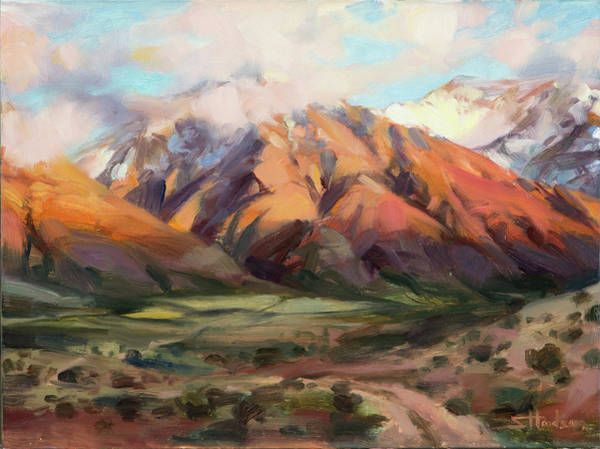 Oil Field Painting - Mt Nebo Range by Steve Henderson
