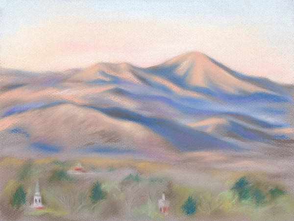 Pastel - Mt. Pisgah Morning Over Asheville by MM Anderson