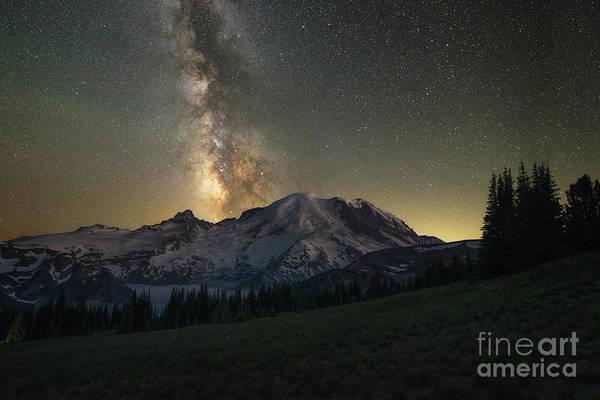 Photograph - Mt Rainier Milky Way Galaxy  by Michael Ver Sprill