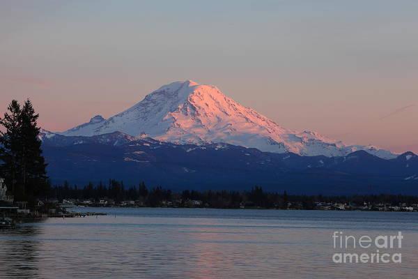 Photograph - Mt Rainier Sunset by Peter Simmons