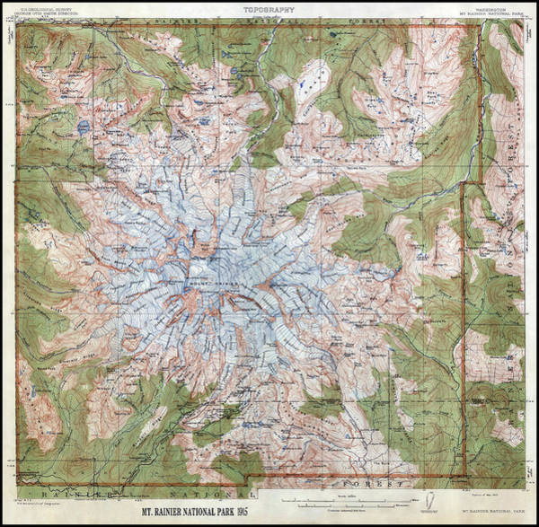 Wall Art - Photograph - Mt. Rainier Topographic Map 1915 by Daniel Hagerman