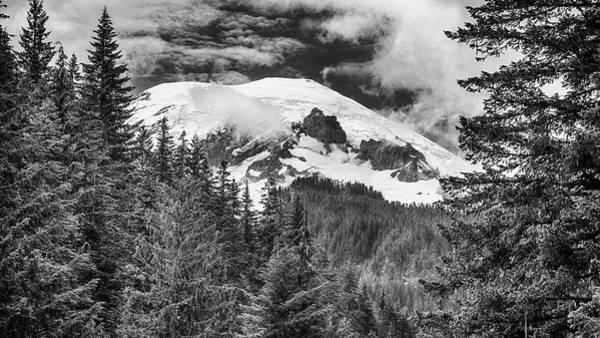 Mt. Adams Photograph - Mt Rainier View - Bw by Stephen Stookey