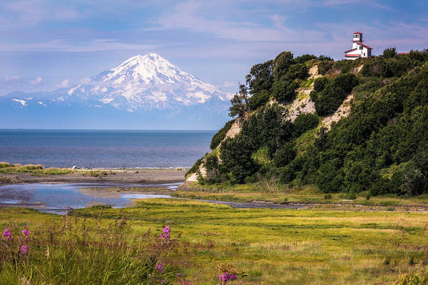 Photograph - Mt. Redoubt From Ninilchik Beach by Claudia Abbott