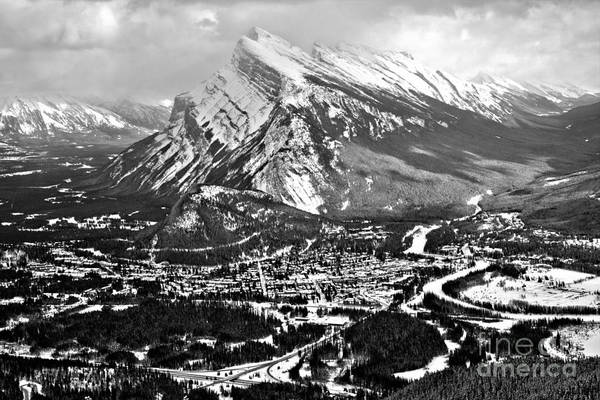 Photograph - Mt Rundle Aerial View Black And White by Adam Jewell