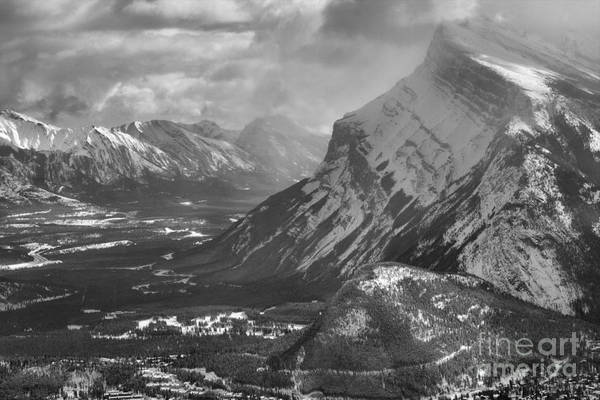 Photograph - Mt. Rundle And The Canadian Rockies Black And White by Adam Jewell