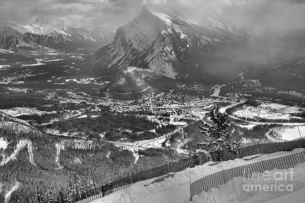 Photograph - Mt Rundle From The Snow Fence Black And White by Adam Jewell