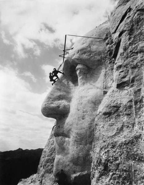 Rushmore Photograph - Mt. Rushmore Under Construction - Washington Sculpture by War Is Hell Store