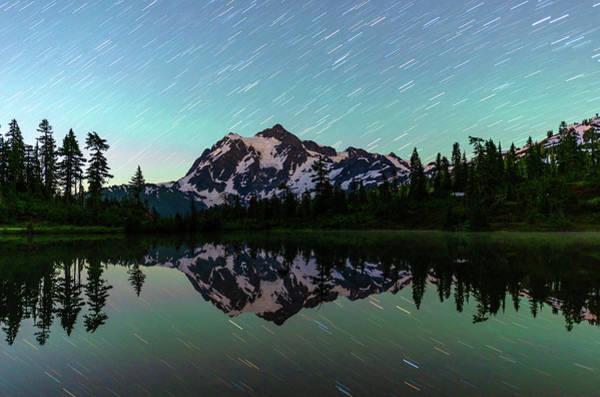 Mt Shuksan And Star Trails Art Print