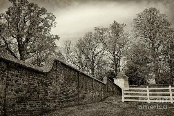 Photograph - Mt. Vernon Garden Wall Black And White by Karen Adams