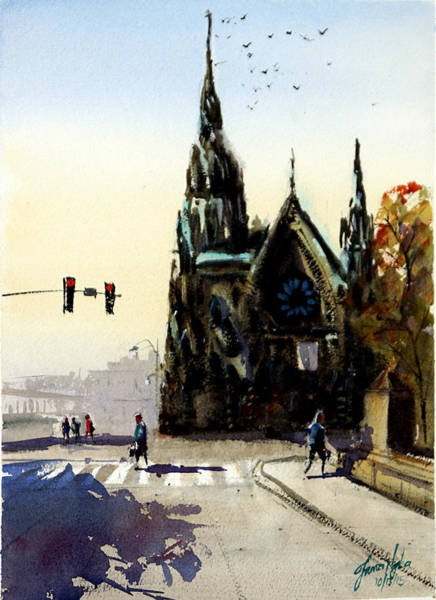 Methodist Church Wall Art - Painting - Mt. Vernon Place United Methodist Church by James Nyika