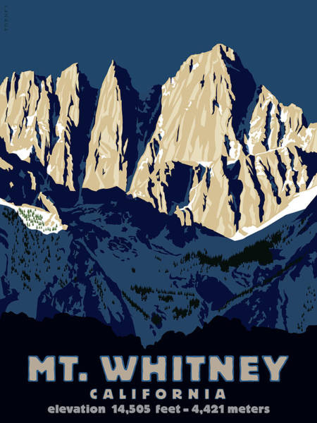 Hiking Digital Art - Mt. Whitney, California by Steve Forney