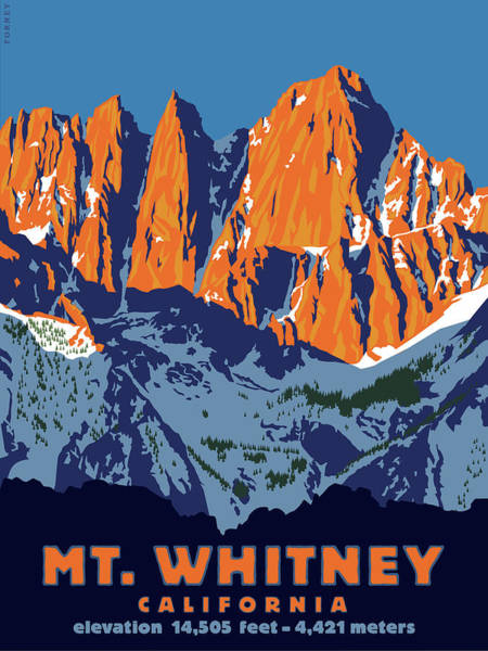 Peak Digital Art - Mt. Whitney Sunrise Colors by Steve Forney