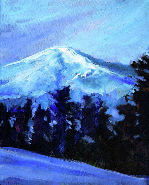 Central Oregon Wall Art - Painting - Mt. Bachelor Snow by Nancy Merkle