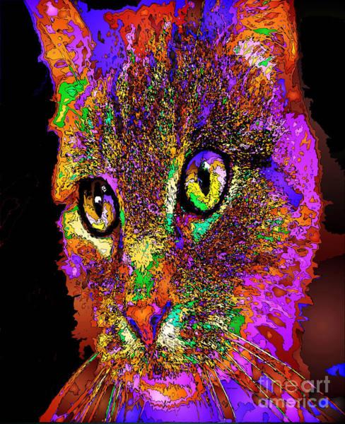 Digital Art - Muffin The Cat. Pet Series by Rafael Salazar