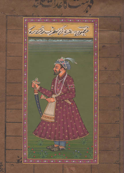 Wall Art - Painting - Mugal Emperor, Miniature Painting India, Online Art Gallary. by B K Mitra