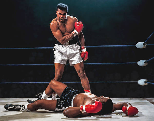 Boxing Painting - Muhammad Ali Boxer Knocks Out Sonny Liston Cassius Marcellus Clay Boxing Legend by Rich image