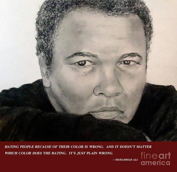 Wall Art - Drawing - Muhammad Ali On Hating  by Jim Fitzpatrick