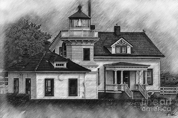 Digital Art - Mukilteo Lighthouse Sketched by Kirt Tisdale