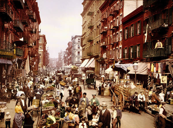 Historical Marker Photograph - Mulberry Street In New York City - C1900 by Mountain Dreams