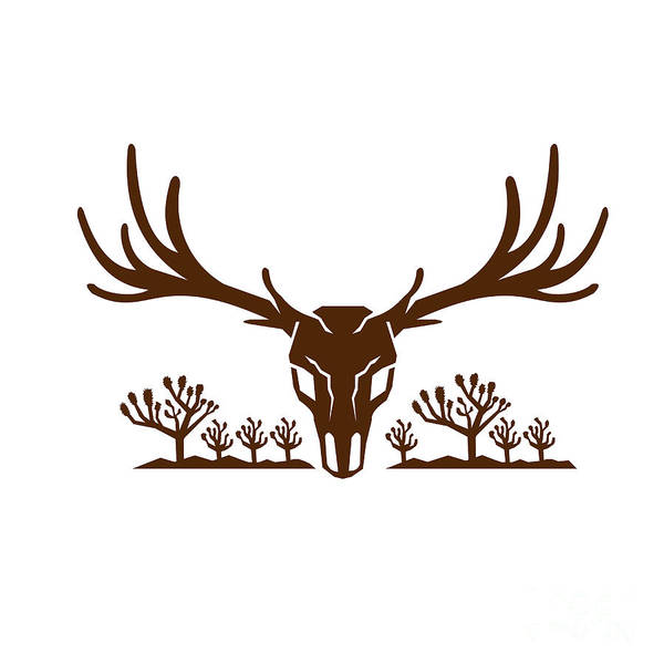 Deer Skull Digital Art - Mule Deer Skull Joshua Tree Icon by Aloysius Patrimonio