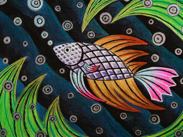 Oil Pastels Drawing - Multi-colored Fighting Fish by Bruce Bodden
