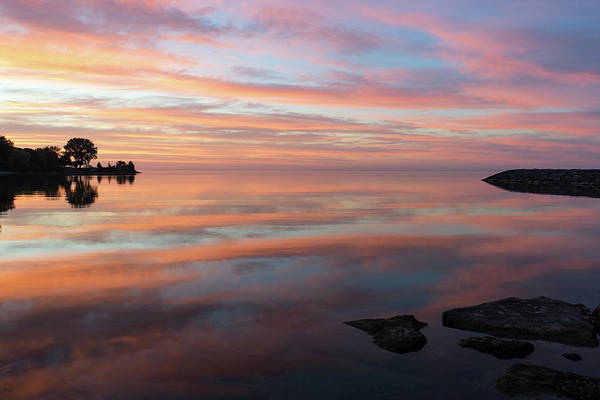 Photograph - Multicolored Brushstrokes - Silky Sunrise On Lake Ontario by Georgia Mizuleva