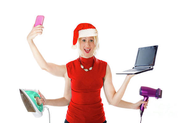Photograph - Multitasking Santa Claus by Benny Marty