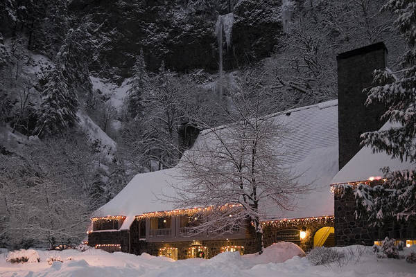 Photograph - Multnomah Falls Christmas  by Wes and Dotty Weber