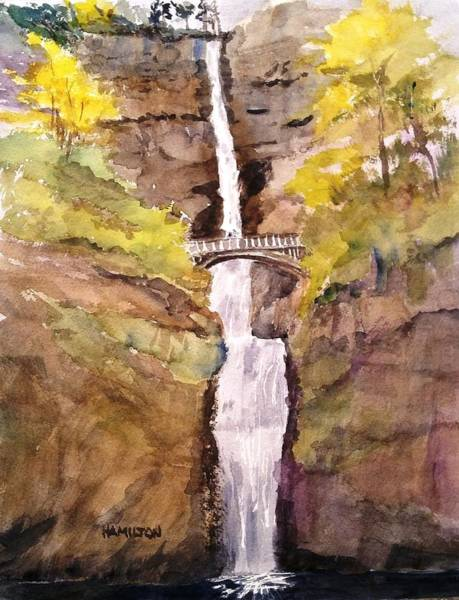 Painting - Multnomah Falls by Larry Hamilton