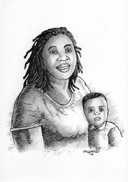 Kenya Mixed Media - Mum And Baby by Anthony Mwangi