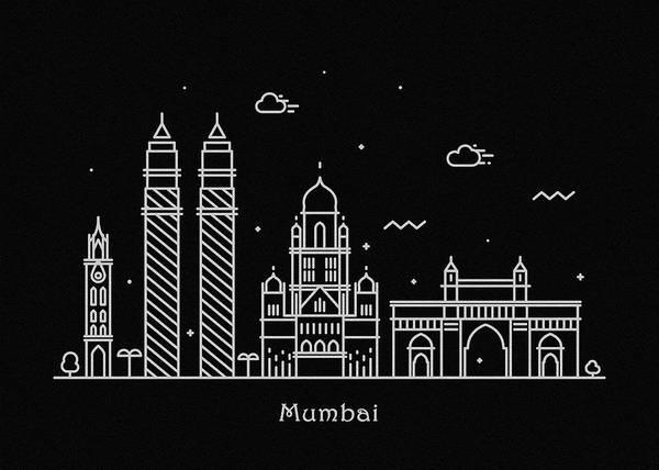 India Drawing - Mumbai Skyline Travel Poster by Inspirowl Design