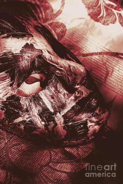 Fiesta Photograph - Mummified Paper Mache Horror Mask. Dark Carnival by Jorgo Photography - Wall Art Gallery