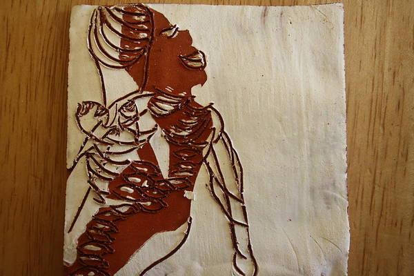 Ceramic Art - Mums Bliss - Tile by Gloria Ssali