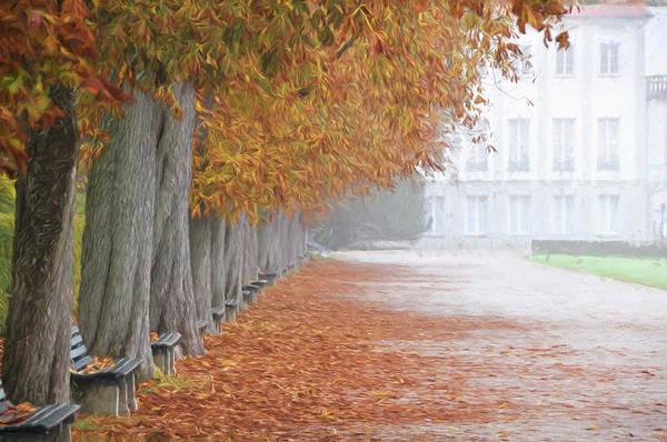 Park Bench Digital Art - Munich, Autumn by Curt Rush