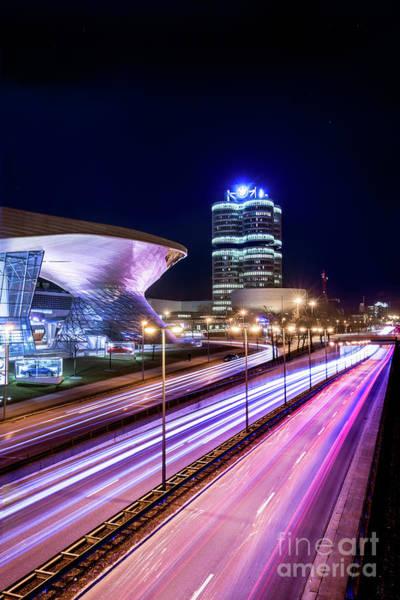 Pyrography - Munich - Bmw City At Night by Hannes Cmarits