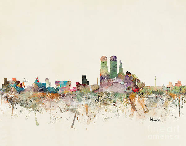 Watercolour Landscape Painting - Munich Germany Skyline by Bri Buckley