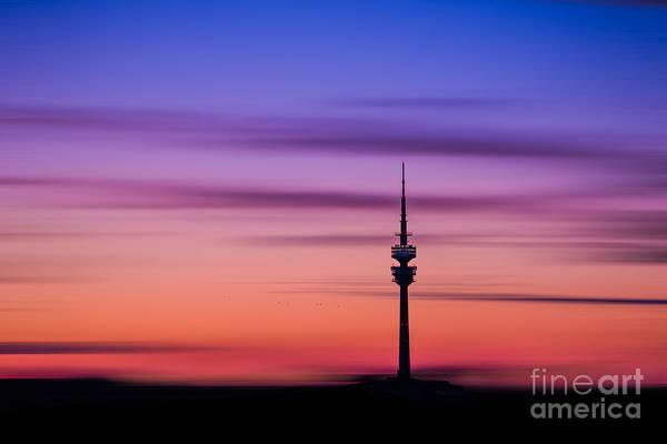 Photograph - Munich - Olympiaturm At Sunset by Hannes Cmarits