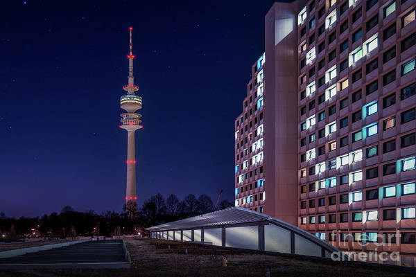 Photograph - Munich - Olympictower And Village by Hannes Cmarits
