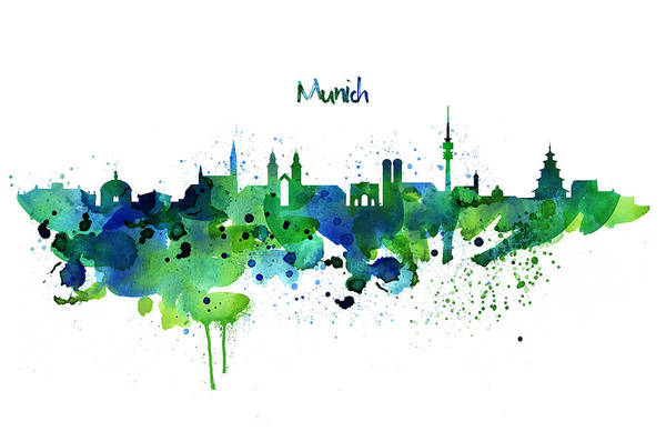 Tall Buildings Painting - Munich Skyline Silhouette by Marian Voicu
