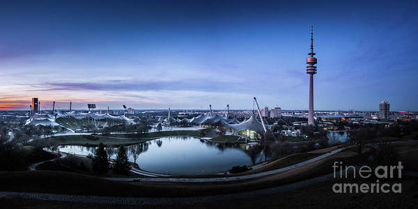 Photograph - Munich - Watching The Sunset At The Olympiapark by Hannes Cmarits