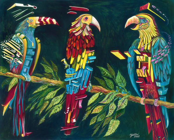 Painting - Munton Parrots by Yom Tov Blumenthal