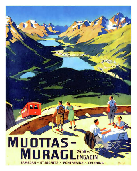 Wall Art - Painting - Muottas - Muragl, Switzerland, Travel Poster by Long Shot
